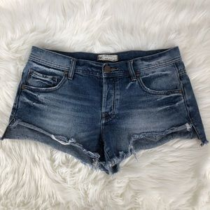 Free People Distressed Cut Off Denim Jean Shorts
